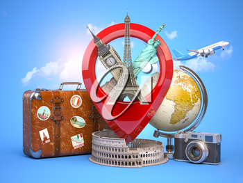 Travel and tourism concept. Pin pointer with famous tourist attractions, camera, suitcase and airplane. Eiffel tower, big ben, statue of liberty and coliseum. 3d illustration