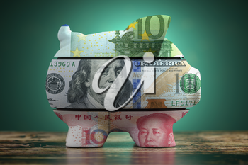 Piggy bank with dollar yuan and euro currency. Savings and investment in different currency concept. 3d illustration