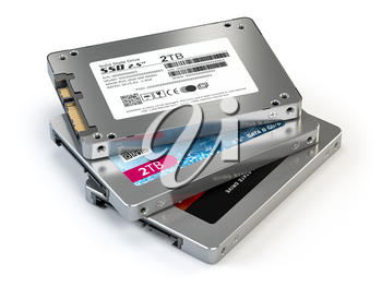 SSD state solid drives disks isolated on white background. 3d illustration