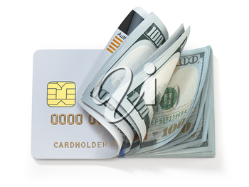 Credit card and dollar in cash. Banking, shopping concept. Opening a wallet or bank account. 3d illustration