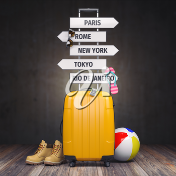 Yellow suitcase and signpost with travel destination.Tourism and  travel concept background. 3d illustration