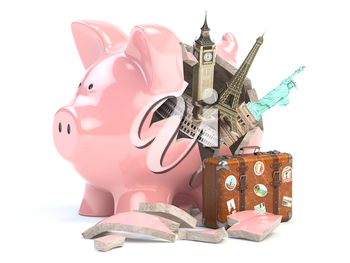 Travel, tourism, planning budget of a  rip or vacation concept.  Broken piggy bank and most popular landmarks of the world. 3d illustration