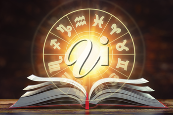 Astrology horoscope concept. Opened  book with magic zodiac signs and symbols. 3d illustration