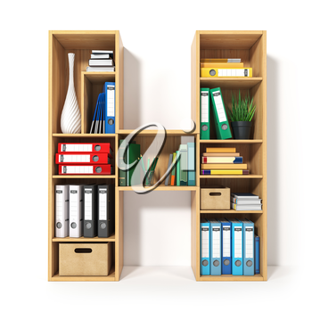 Letter H. Alphabet in the form of shelves with file folder, binders and books isolated on white. Archival, stacks of documents at the office or library. 3d illustration