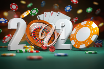 2020 Happy New Year in casino. Numbers 2020 from roulette and casino chips with dice and card on green table. 3d illustration