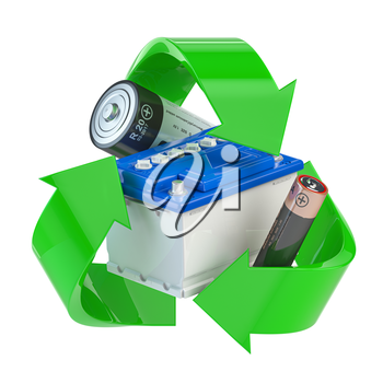 Recycle sign with different types of batteries and car batter. Ecology and green energy concept. 3d illustration