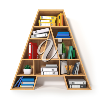 Letter A. Alphabet in the form of shelves with file folder, binders and books isolated on white. Archival, stacks of documents at the office or library. 3d illustration