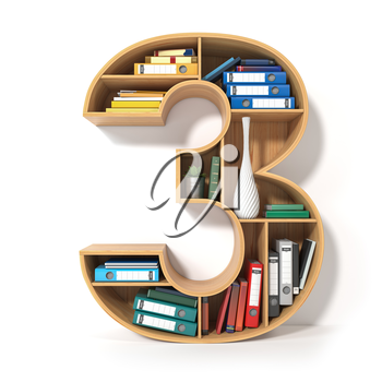 Number 3. Alphabet in the form of shelves with file folder, binders and books isolated on white. Archival, stacks of documents at the office or library. 3d illustration