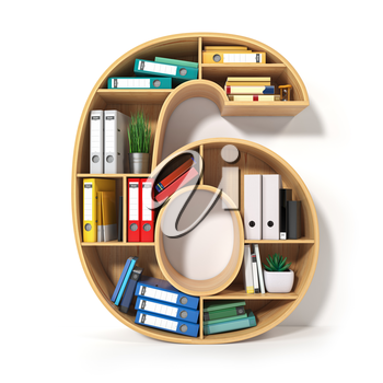 Number 6. Alphabet in the form of shelves with file folder, binders and books isolated on white. Archival, stacks of documents at the office or library. 3d illustration