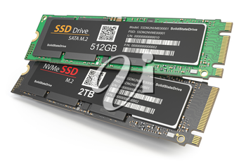 Different SSD M2 disk drive isolated on white background. 3d illustration