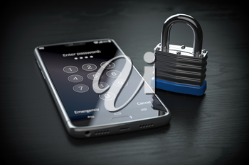 Smartphone personal data protection and mobile phone security concept. Smartphone and lock. 3d illustration