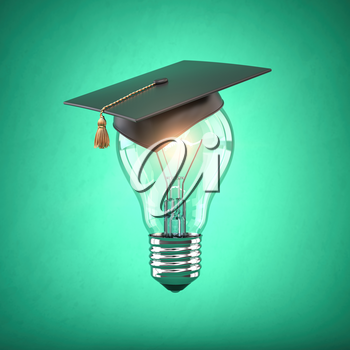 Eduction and gradfuation concept. Light bulb with graduation hat on green  background. 3d illustration