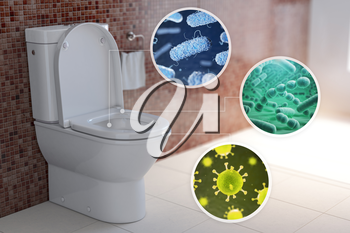 Toilet bowl with different types of bacteria, microbe  and virus. Toilet hygiene infografic concept. 3d illustration