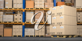 Warehouse or storage with cardboard boxes on a pallet. Logistics and mail delivery concept. 3d illustration.