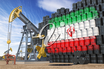 Oil production and extraction in Iran. Oil pump jack and oil barrels with UIranian flag. 3d illustration