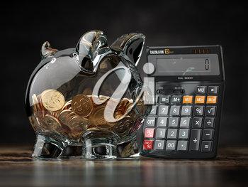 Savings, investment, credit calculator and accounting financial concept. Piggybank with calculator. 3d illustration