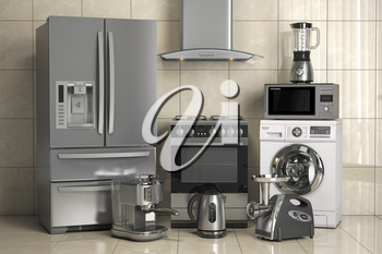 Set of home kitchen appliances on the wall background. Household kitchen technics. 3d illustration