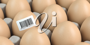 Chicken egg with barcode sticker. Quality control concept. 3d illustration