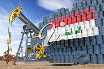 Oil production and extraction in Iraq. Oil pump jack and oil barrels with Iraqui flag. 3d illustration