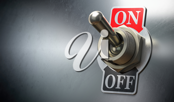 Retro toggle switch ON OFF on metal background. 3d illustration