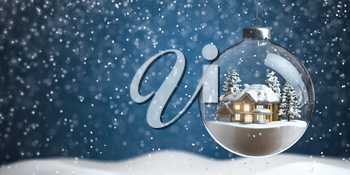 Christmas snow ball with house inside it and snowfall. 3d illustration