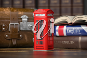 Learn English concept. Red telephone booth on backgrpund of english course textbook and vintage suitcase. 3d illustration