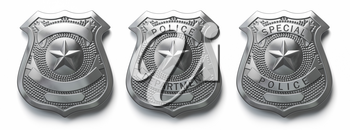 Police metal badge isolated on white Sign and symbol of police. 3d illustration