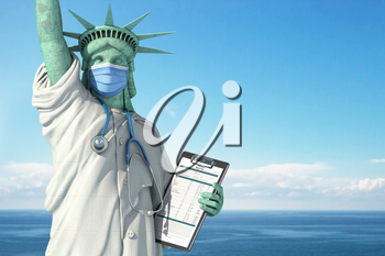 Healthcare system inUSA United States concept. Statue of Liberty as doctor in medical gown with  surgical mask, stethoscope and medical analysis.  3d illustration