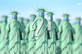 Statue of Liberty in surgical mask with lowered torch. America mourns coronavirus deaths concept. Healthcare and medicine in USA IUnited States. 3d illustration
