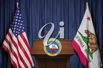 Press conference of governor of the state of California concept. Seal of the governor of the State of California on the tribune with flag of USA and California state.  3d illustration