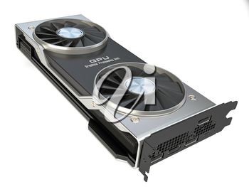 Graphics card. Modern gaming  GPU graphics processing unit isolated on white.  3d illustration