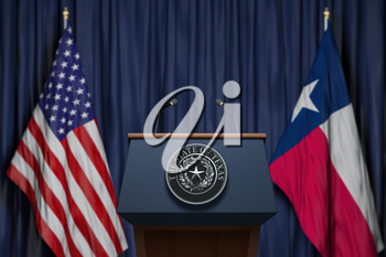 Press conference of governor of the state of Texas concept. Big Seal of the State of Texas on the tribune with flag of USA and Texas state.  3d illustration