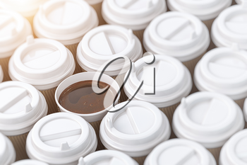Coffee paper cups background. 3d illustration