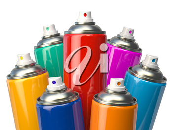 Colorful graffity spray paint cans or bottles of aerosol isolated on white. 3d illustration