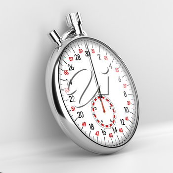 Mechanical stopwatch illustration. Retro classic style clock. Metallic chronometer with white face and black and red numbers on grey background. Time is money, deadline, accuracy concept.