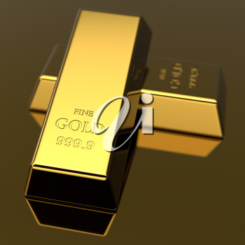 Golden bars. Precious metal ingots. Business background. Finance and banking concept. 3D illustration.
