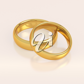 Two golden wedding rings in a heart shape on pink background. Love and marriage concept.