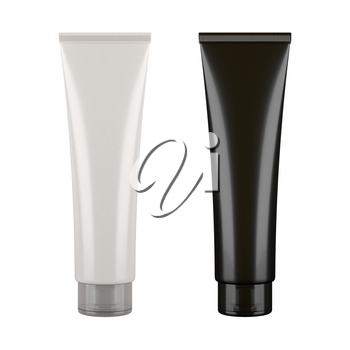 Black and white tubes. Product mock ups isolated on white background. Blank packaging for cosmetic products like cream or lotion, as well as tooth paste, hair gel, acrylic paint, sauce and more.