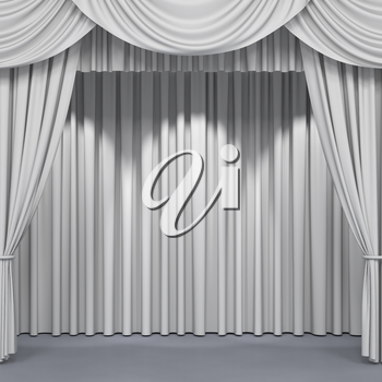 Wide stage curtains. Luxury wide velvet drapes, silk drapery. Realistic closed theatrical cinema curtain. Waiting for show, movie end, revealing new product, premiere, marketing concept. 3D illustration