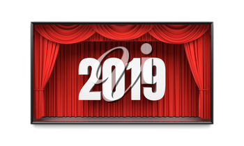 Happy New Year greeting card. Red stage curtains revealing year 2019 number. Graphic design element for premiere announcement, party invitation poster, flyer, advertisement concept. 3D illustration