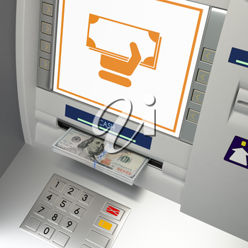 ATm machine with money withdrawal icon and banknotes in the money slot. Online payment, cash withdrawal deposit, transfer funds, giving money returning bank debt concept. 3D illustration