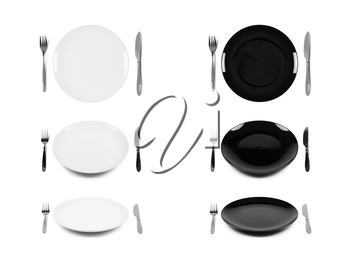 Two sets of white and black plates with fork and knife in three different views, isolated on white background. Graphic design element for catalog, advertisement, website, flyer, poster.