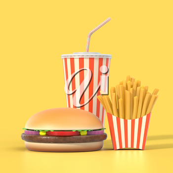 Fast food set on yellow background with shadow. Hamburger, french fries and cola in generic package with stripes. Graphic design element for restaurant advertisement, menu or poster. 3D illustration