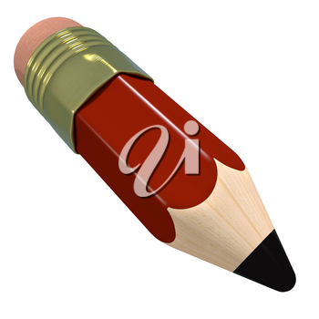 Cute cartoon pencil. Red colorful childrens stationary. School supply, funny character, kids writing. Graphic design element for school flyer, poster, school roster. 3D illustration.