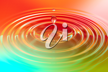 Colorful liquid drop or paint drop falling on color surface. Rainbow colored ripple splash of dye, macro image. Graphic design element for poster, package, flyer. Abstract background, 3D illustration