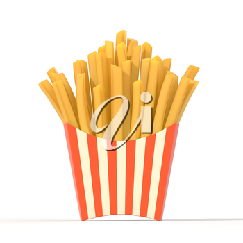 Fast food french fries in a container. Generic striped fried potato chip package isolated on white background. Graphic design element for restaurant advertisement, menu, poster, flyer. 3D illustration