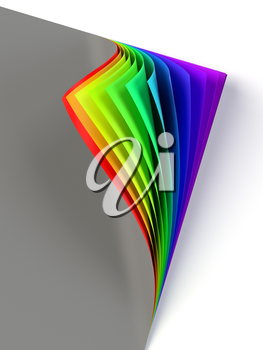 Blank dark colored document with rainbow curled corner. Poster with turning corner, colors, shadow. Diversity, love, equity, all colors of the rainbow concept. Graphic design element. 3D illustration