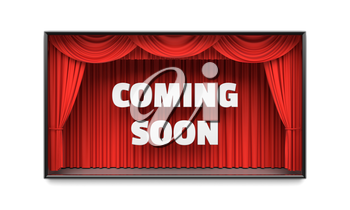 Coming Soon poster with red stage curtains revealing a message. Cable tv show advertisement, blockbuster movie premiere, party invitation poster, new product flyer concept. 3D illustration