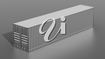 Ship cargo container 40 feet length. Grey metallic freight box. Marine olgistics, harbor warehouse, customs, transport shipping concept. 3D illustration