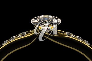 Diamond golden ring isolated on black background. Wedding or engagement ring. Beautiful fashion jewelry. Elegant advertisement template. Add your text. 3D illustration.